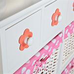 Kommode Sideboard inkl. 4 Körben weiß/rosa Pic:2