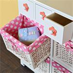 Kommode Sideboard inkl. 4 Körben weiß/rosa Pic:3
