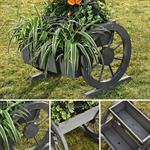 Pflanzkübel mit Wagenrädern aus Holz - Grau