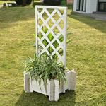 Blumenkübel mit Rankgitter Holz - Weiß Pic:1