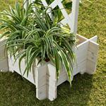 Blumenkübel mit Rankgitter Holz - Weiß Pic:2