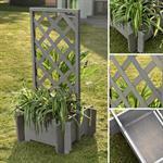 Blumenkübel mit Rankgitter Holz - Grau