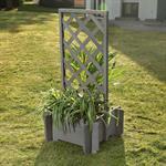 Blumenkübel mit Rankgitter Holz - Grau Pic:1