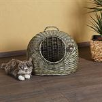 Pet Cat Transport Basket Animal Carrier Box Bed Handmade Wicker Green