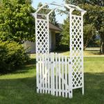 Rosenbogen mit zwei Türen aus Holz - Weiß Pic:1