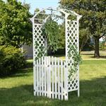 Rosenbogen mit zwei Türen aus Holz - Weiß Pic:2