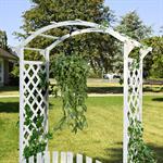 Rosenbogen mit zwei Türen aus Holz - Weiß Pic:3