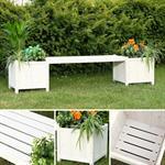 Holzgartenbank mit zwei Blumenkästen - Weiß