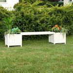 Holzgartenbank mit zwei Blumenkästen - Weiß Pic:1