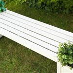 Holzgartenbank mit zwei Blumenkästen - Weiß Pic:4