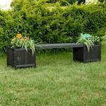 Holzgartenbank mit zwei Blumenkästen - Schwarz Pic:1