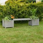 Holzgartenbank mit zwei Blumenkästen - Grau Pic:1