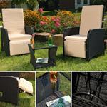 2X Sessel inkl. Beistelltisch Polyrattan - schwarz