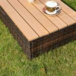 2Sitzer Rattan Sofa,Ottoman und Tisch - braun Pic:5