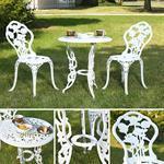 Garten Tisch mit 2 Stühlen aus Aluminium - weiß