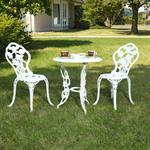 Garten Tisch mit 2 Stühlen aus Aluminium - weiß Pic:1