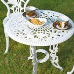 Garten Tisch mit 2 Stühlen aus Aluminium - weiß Pic:2
