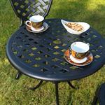 Garten Tisch mit 2 Stühlen aus Aluminium - schwarz Pic:2