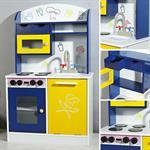 Spielküche / Kinderküche aus Holz - Blau/Weiß/Gelb