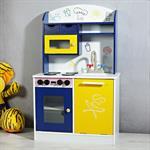 Spielküche / Kinderküche aus Holz - Blau/Weiß/Gelb Pic:1