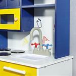 Spielküche / Kinderküche aus Holz - Blau/Weiß/Gelb Pic:3