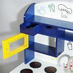 Spielküche / Kinderküche aus Holz - Blau/Weiß/Gelb Pic:5