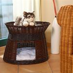 Dark Wicker Cat/Dog Animal Bed Pet Transport Basket Brown / Black
