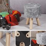 Runder Sitzhocker / Schemel mit Fell in Grau