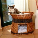 Wicker Cat/Dog Animal Bed Pet Transport Basket Natural-Coloured/Black