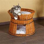 Wicker Cat/Dog Animal Bed Pet Transport Basket Natural-Coloured