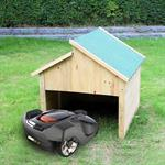 Holzgarage für Mähroboter - Grünes Dach
