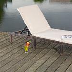 Rattan Garten Sonnen Liege Braun  inkl. Auflage Pic:5