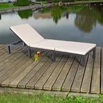 Rattan Garten Sonnen Liege Schwarz  inkl. Aufllage Pic:3