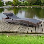 Polyattan Gartenliege Terrassenliege  in Braun Pic:1