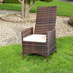 Verstellbarer Polyrattan Sessel inkl. Kissen Braun Pic:2