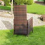 Verstellbarer Polyrattan Sessel inkl. Kissen Braun Pic:6