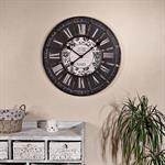 Shabby Wanduhr Uhr aus Holz und Metall schwarz