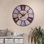 Vintage Wanduhr Uhr aus Holz und Metall bunt