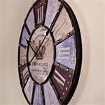 Vintage Wanduhr Uhr aus Holz und Metall bunt Pic:1