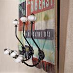 Shabby Wand Flur Garderobe + 3 Kleiderhaken - bunt Pic:1