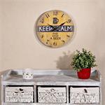 Shabby Wanduhr Uhr aus Holz  - Keep Calm Gelb