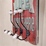 Shabby Wand Flur Garderobe + 3 Kleiderhaken - Rot Pic:1