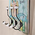 Shabby Wand Flur Garderobe + 3 Kleiderhaken - Eule Pic:1