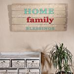 Shabby Wand Bild Board aus Holz Querformat- Family