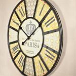 Nostalgie Wanduhr Uhr Holz und Metall beige/gelb Pic:1