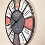 Shabby Chic Wanduhr Uhr Holz +  Metall rot/schwarz Pic:1