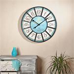 Shabby Chic Wanduhr Uhr Holz +  Metall blau/weiß
