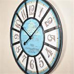 Shabby Chic Wanduhr Uhr Holz +  Metall blau/weiß Pic:1