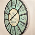Shabby Chic Wanduhr Uhr Holz +  Metall Schiff Pic:1