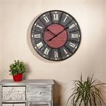 Shabby Chic Wanduhr Uhr Holz +  Metall rot/schwarz